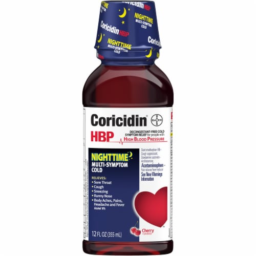 Coricidin Nighttime Cherry Liquid Cold Medicine Perspective: front