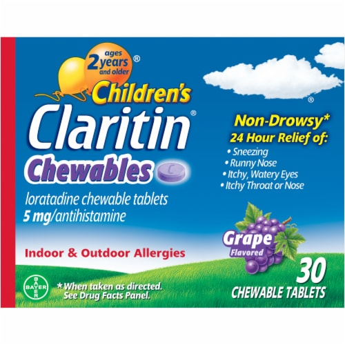 Children's Claritin 24 Hour Non-Drowsy Indoor & Outdoor Allergy Relief Grape Chewable Tablets Perspective: front