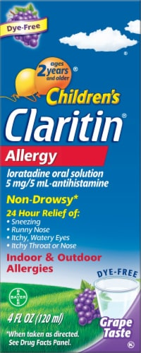 Children's Claritin 24 Hour Non-Drowsy Indoor & Outdoor Allergy Relief Grape Liquid Syrup Perspective: front