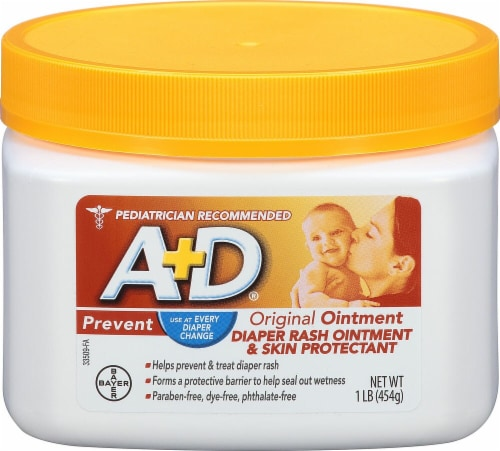 A+D Diaper Rash Ointment & Skin Protectant Perspective: front