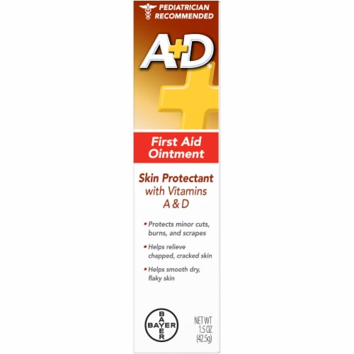 A+D First Aid Ointment Moisturizing Skin Protectant for Dry Cracked Skin/Hands 1.5 oz Perspective: front