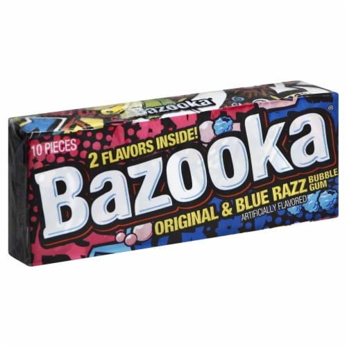 Bazooka Bubble Gum Original with Blue Razz Perspective: front
