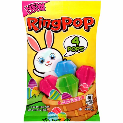 Topps Hard Candy Ring Pop 4 Count Perspective: front
