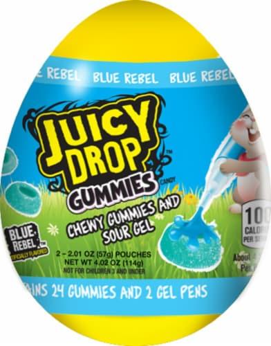 Juicy Drop Blue Rebel Gummies Perspective: front