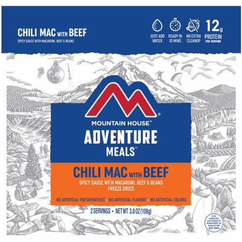 Mountain House Adventure Meals Freeze Dried Camping Meal - Chili Mac with Beef Perspective: front