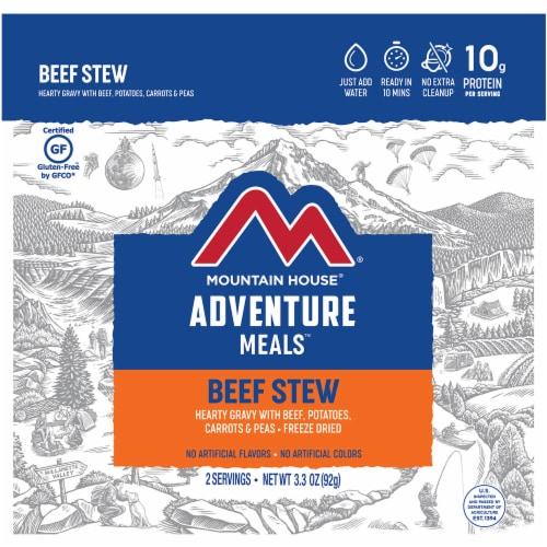 Mountain House Adventure Meals Freeze Dried Camping Meal - Beef Stew Perspective: front