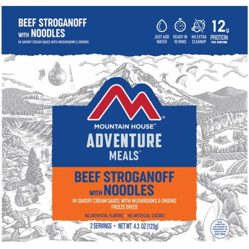 Mountain House Adventure Meals Freeze Dried Camping Meal - Beef Stroganoff with Noodles Perspective: front