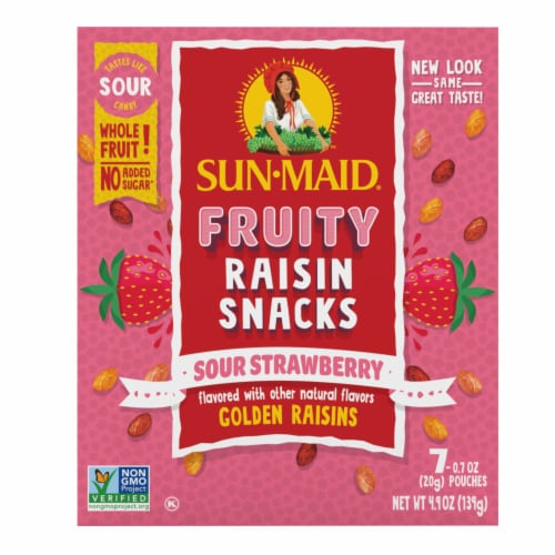 Sun-Maid Strawberry Sour Golden Raisin Snacks Perspective: front