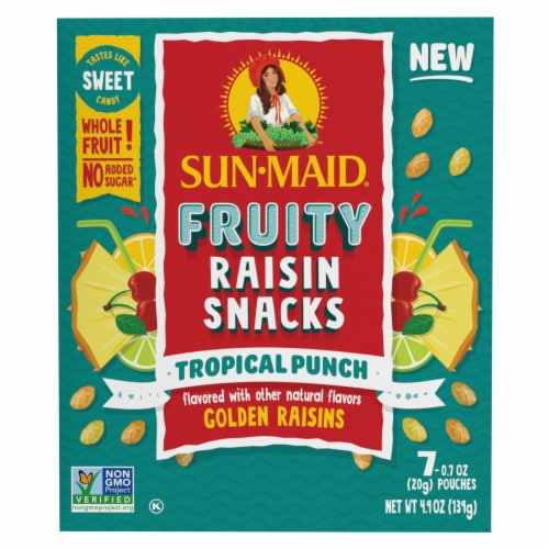 Sun-Maid Fruity Tropical Punch Raisin Snacks Perspective: front