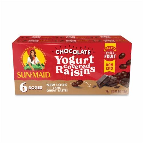 Sun-Maid Dark Chocolate Yogurt Flavored Raisin Snacks Perspective: front