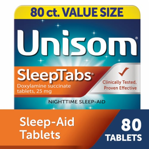 Unisom SleepTabs Nighttime Sleep-Aid Tablets 25mg Perspective: front