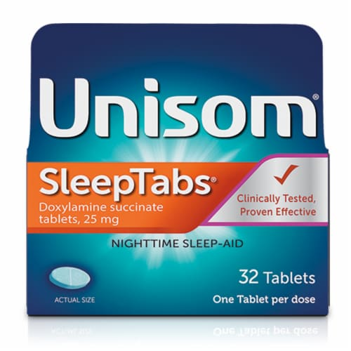 Unisom Sleep Tabs Doxylamine Succinate Tablets 32 Count Perspective: front