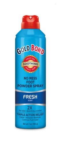 Gold Bond No Mess Foot Powder Spray Fresh Scent 2x Odor Absorbing Power Perspective: front
