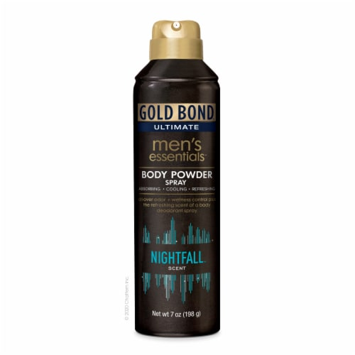 Gold Bond Ultimate Men's Essentials Body Powder Spray Nightfall Scent Perspective: front