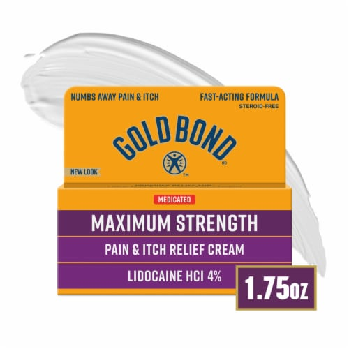 Gold Bond Multi-Symptom Itch Relief With 4% Lidocaine Maximum Strenth Perspective: front