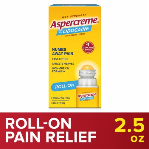Aspercreme with Lidocaine Roll-On Pain Relieving Liquid Perspective: front