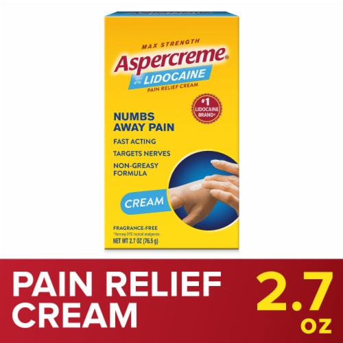 Aspercreme with Lidocaine Maximum Strength Odor Free Pain Relieving Creme Perspective: front