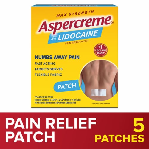 Aspercreme Max Strength Lidocaine Patch Odor Free Perspective: front
