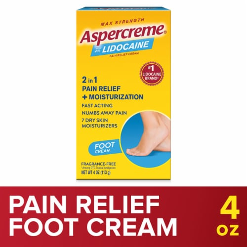 Aspercreme with Lidocaine Foot Pain Creme Perspective: front