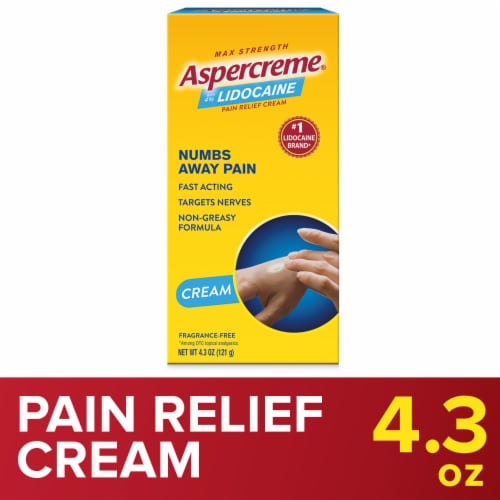 Aspercreme with Lidocaine Fragrance-Free Maxium Strength Pain Relief Cream Perspective: front