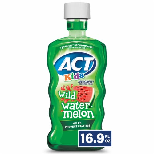 ACT Kids Wild Watermelon Anticavity Fluoride Rinse Mouthwash Perspective: front