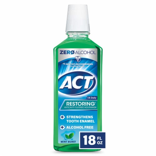 ACT Mint Burst Restoring Anticavity Fluoride Mouthwash Perspective: front