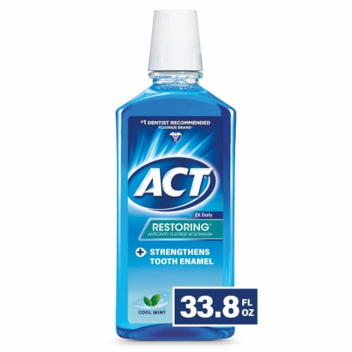Act Cool Mint Restoring Anticavity Fluoride Mouthwash Perspective: front