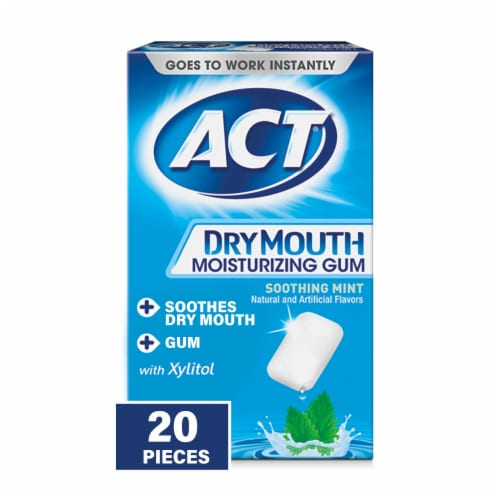 ACT Dry Mouth Moisturizing Gum 20 Count Perspective: front