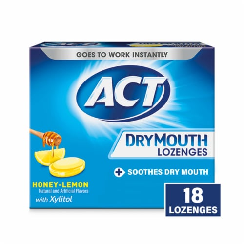 ACT Honey Lemon Dry Mouth Lozenges Perspective: front