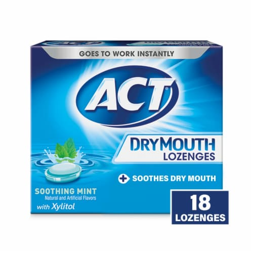 ACT Soothing Mint Dry Mouth Lozenges with Xylitol Perspective: front