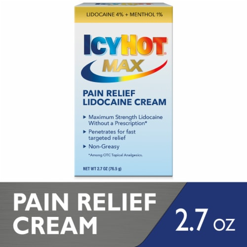 Icy Hot Max Pain Relief Lidocaine Cream Perspective: front