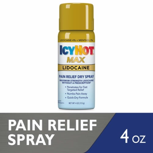 Icy Hot with Max Strength Lidocaine Dry Spray Perspective: front