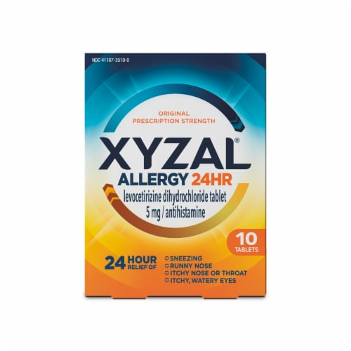 Xyzal Allergy 24 Hour Relief Tablets 10 Count Perspective: front