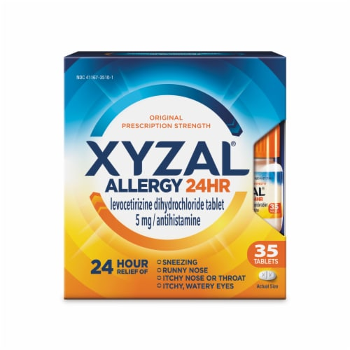 Xyzal 24 Hour Allergy Relief Tablets 5mg Perspective: front