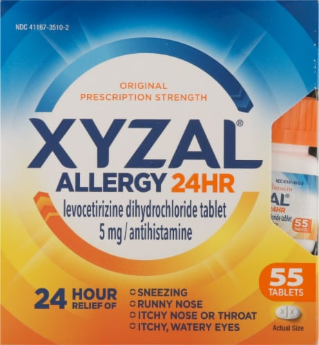 Xyzal Allergy 24 Hour Relief Tablets 5mg Perspective: front