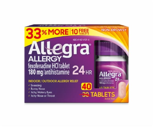 Allegra Non-Drowsy 24-Hour Allergy Relief Tablets 180mg Perspective: front