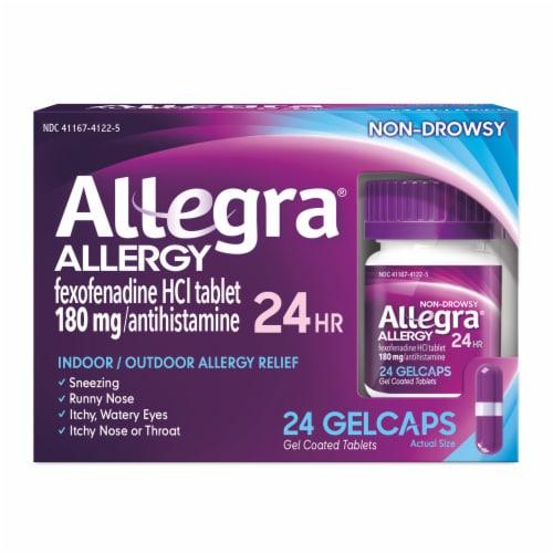 Allegra 24 Hour Non-Drowsy Indoor/Outdoor Allergy Relief Gelcaps 180mg Perspective: front