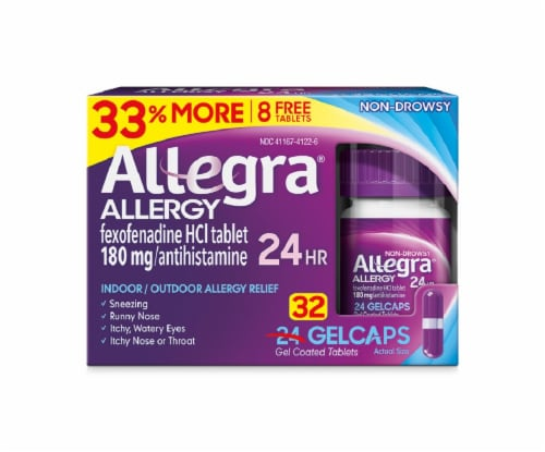 Allegra Non-Drowsy 24-Hour Allergy Relief Gelcaps 180mg Perspective: front