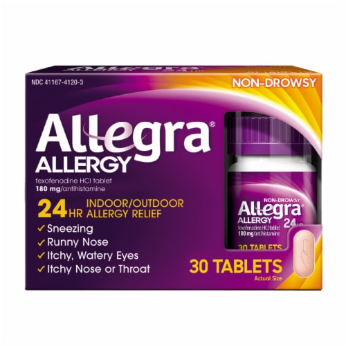 Allegra 24 Hour Non-Drowsy Indoor/Outdoor Allergy Relief Tablets 180mg Perspective: front