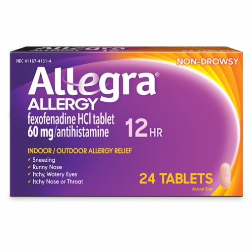 Allegra 12 Hour Non-Drowsy Indoor/Outdoor Allergy Relief Tablets Perspective: front