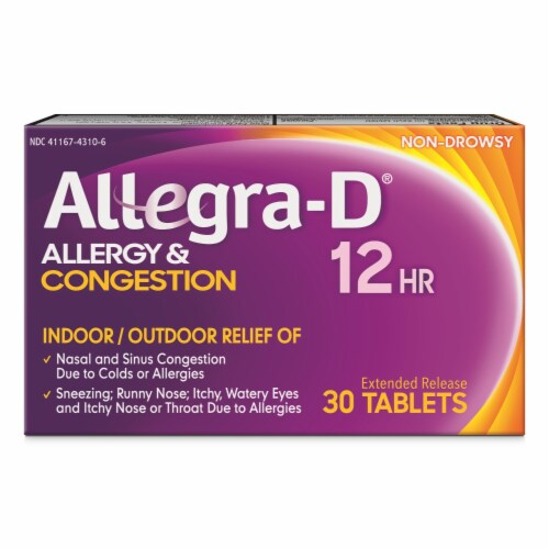 Allegra-D 12 Hour Non-Drowsy Allergy & Congestion Extended Release Tablets Perspective: front