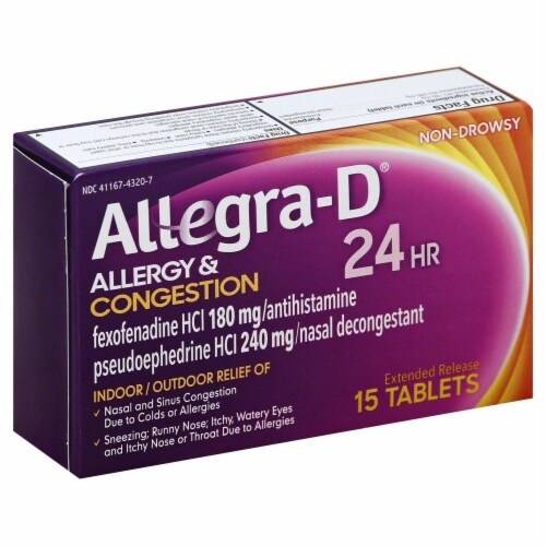 Allegra-D 24 Hour Non-Drowsy Allergy & Congestion Extended Release Tablets Perspective: front