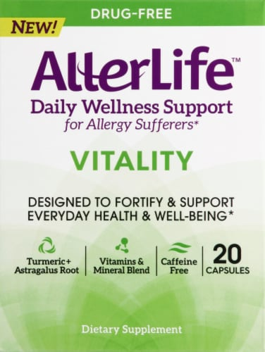 AllerLife Vitality Daily Wellness Allergy Support Capsules 20 Count Perspective: front