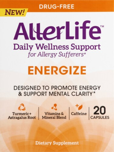 AllerLife Energize Daily Wellness Allergy Support Dietary Supplement Capsules 20 Count Perspective: front
