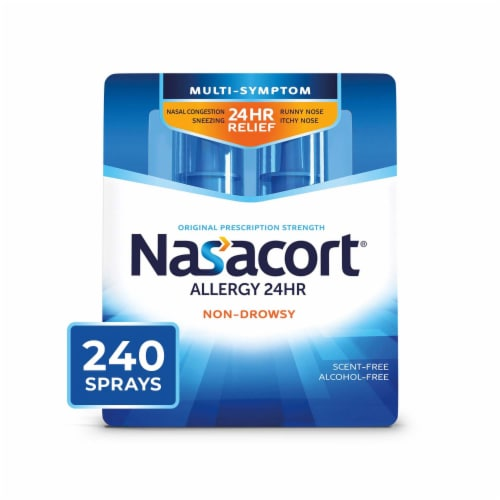 Nasacort Allergy 24-Hour Non-Drowsy Multi-Symptom Relief Nasal Spray Perspective: front