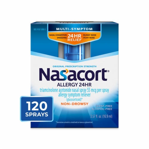 Nasacort 24 Hour Non Drowsy Allergy Relief Nasal Spray Perspective: front
