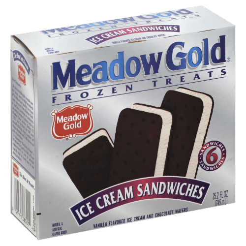 Meadow Gold Vanilla Ice Cream Sandwiches Perspective: front