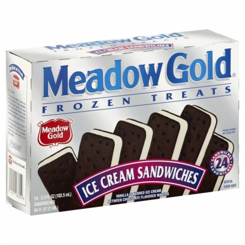 Meadow Gold Vanilla Ice Cream Sandwich Perspective: front