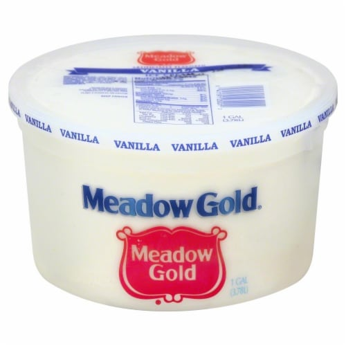 Meadow Gold Vanilla Ice Cream Pail Perspective: front