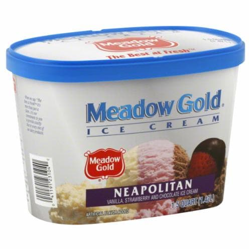 Meadow Gold Neapolitan Ice Cream Perspective: front